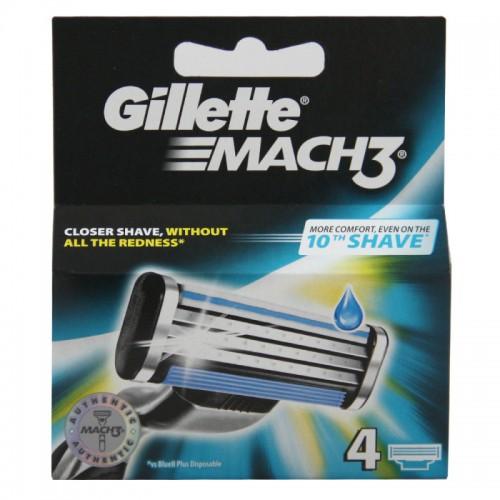 Gillette Mach 3 Refill Razor Blades for Mach3, 4 Cartridge